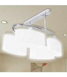 Φωτιστικό Οροφής με Λευκό Ελλειψοειδές Κρύσταλλο 4φωτο Ε14  240988