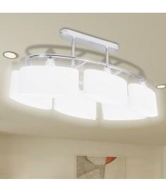 Φωτιστικό Οροφής με Λευκό Ελλειψοειδές Κρύσταλλο 6φωτο Ε14  240989