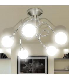 Φωτιστικό Οροφής με Στρογγυλά Γυάλινα Καπέλα για 5 Λαμπτήρες G9   240992