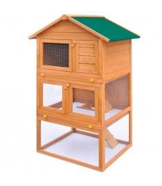 Κλουβί Κουνελιών/Σπίτι Μικρών Ζώων Εξωτ. Χώρου 3 Επίπεδα Ξύλινο   170161
