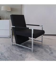 Πολυθρόνα Μαύρη από Συνθετικό Δέρμα με Πόδια Χρωμίου   241006