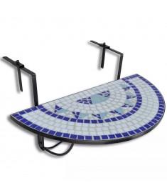 Κρεμαστό Τραπέζι Μπαλκονιού Ψηφιδωτό Ημικύκλιο Μπλε Λευκό  41124