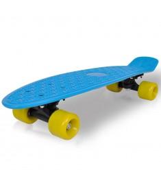 "Skateboard Πατίνι Ρετρό με Μπλε Επιφάνεια και Κίτρινες Ρόδες 6,1"""