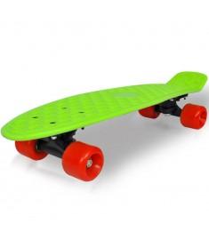 "Skateboard Πατίνι Ρετρό με Πράσινη Επιφάνεια και Κόκκινες Ρόδες 6,1"""