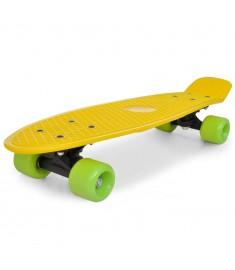 "Skateboard Πατίνι Ρετρό με Κίτρινη Επιφάνεια και Πράσινες Ρόδες 6,1""  90553"