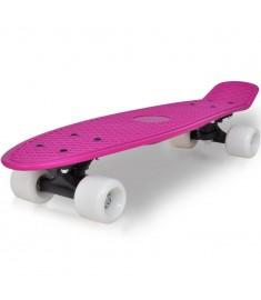 "Skateboard Πατίνι Ρετρό με Λιλά Επιφάνεια και Άσπρες Ρόδες 6,1""  90554"