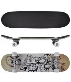 "Skateboard με Σχέδιο Δράκου Οβάλ 8"" από Σφενδάμι 9 Στρώσεων  90556"