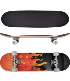 "Skateboard με Σχέδιο Φλόγες Οβάλ 8"" από Σφενδάμι 9 Στρώσεων  90557"