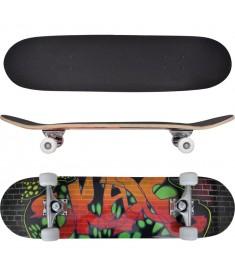 "Skateboard με Σχέδιο Γκράφιτι Οβάλ 8"" από Σφενδάμι 9 Στρώσεων  90558"