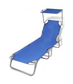 Ξαπλώστρα Πτυσσόμενη Μπλε από Ατσάλι/Ύφασμα με Σκίαστρο  41196