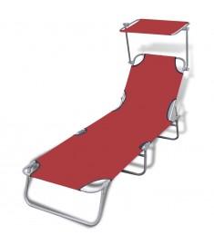 Ξαπλώστρα Πτυσσόμενη Κόκκινη από Ατσάλι/Ύφασμα με Σκίαστρο  41198