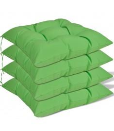 Μαξιλάρια Καρέκλας 4 τεμ. Πράσινα 40 x 40 x 8 εκ.
