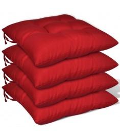 Μαξιλάρια Καρέκλας 4 τεμ. Κόκκινα 40 x 40 x 8 εκ.