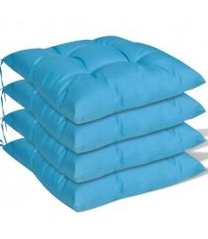 Μαξιλάρια Καρέκλας 4 τεμ. Μπλε 40 x 40 x 8 εκ.