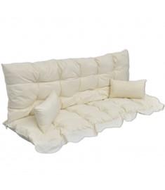 Μαξιλάρια Κούνιας Κήπου Σετ 4 Τεμαχίων Λευκό Κρεμ Υφασμάτινα  40961