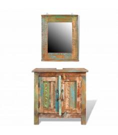 Ντουλάπι μπάνιου Ανακυκλωμένο μασίφ ξύλο Σετ με καθρέφτη  241134
