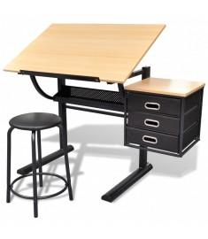Τραπέζι σχεδιαστηρίου με αλλαγή κλίσης και σκαμπό   20088