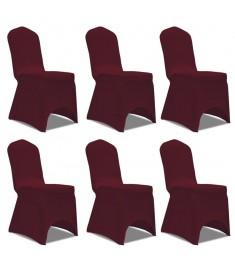 Κάλυμμα Καρέκλας Ελαστικό Μπορντό 6 τεμ.