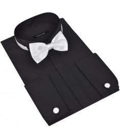 Ανδρικό πουκάμισο σμόκιν Μέγεθος S Μαύρο 3 τμχ  130270