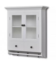 Ντουλάπι Κουζίνας Επιτοίχιο Λευκό Ξύλινο με Γυάλινη Πόρτα   241374
