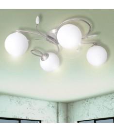 Φωτιστικό Οροφής με Διάφανα Φύλλα και Γυάλινα Καπέλα για 4 Γλόμπους G9   241479