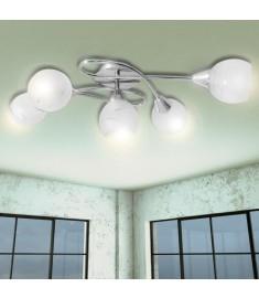Φωτιστικό Οροφής με Γυάλινα Καπέλα για 5 Γλόμπους E14  241480