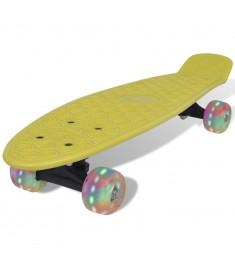 Skateboard Ρετρό Κίτρινο με LED Τροχούς  90659
