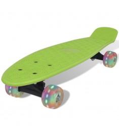 Skateboard Ρετρό Πράσινο με LED Τροχούς