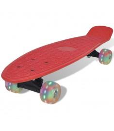Skateboard Ρετρό Κόκκινο με LED Τροχούς  90661
