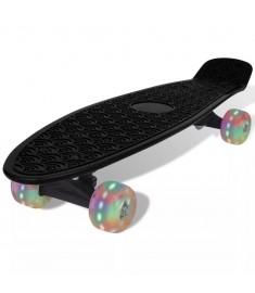 Skateboard Ρετρό Μαύρο με LED Τροχούς  90662
