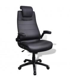 Περιστρεφόμενη καρέκλα Ρυθμιζόμενη Μαύρο συνθετικό δέρμα  20089