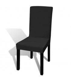 Κάλυμμα Καρέκλας Ελαστικό Ίσιο 6 τεμ. Μαύρο