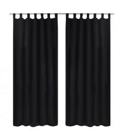 Κουρτίνες με Θηλιές 2 τεμ. Μαύρες 140 x 245 εκ. από Microsatin   130355