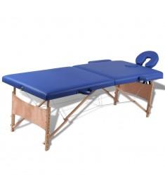 Κρεβάτι μασάζ Πτυσσόμενο 2 θέσεων με ξύλινο σκελετό Μπλε  110075