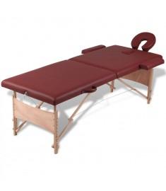 Κρεβάτι μασάζ Πτυσσόμενο 2 θέσεων με ξύλινο σκελετό Κόκκινο  110076