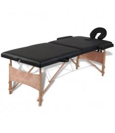 Κρεβάτι μασάζ Πτυσσόμενο 2 θέσεων με ξύλινο σκελετό Μαύρο  110077
