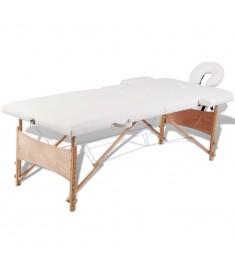 Κρεβάτι μασάζ Πτυσσόμενο 2 θέσεων με ξύλινο σκελετό Κρεμ  110078