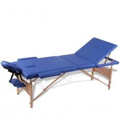 Κρεβάτι μασάζ Πτυσσόμενο 3 θέσεων με ξύλινο σκελετό Μπλε  110079