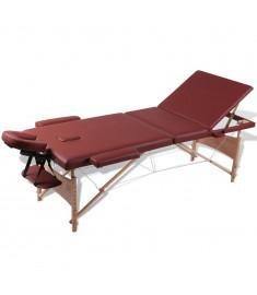 Κρεβάτι μασάζ Πτυσσόμενο 3 θέσεων με ξύλινο σκελετό Κόκκινο  110080