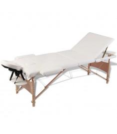 Κρεβάτι μασάζ Πτυσσόμενο 3 θέσεων με ξύλινο σκελετό Κρεμ  110082