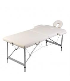 Κρεβάτι μασάζ Πτυσσόμενο 2 θέσεων με σκελετό αλουμινίου Κρεμ  110085