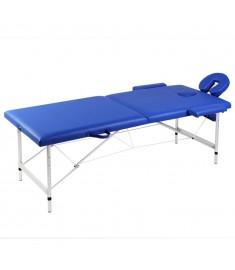 Κρεβάτι μασάζ Πτυσσόμενο 2 θέσεων με σκελετό αλουμινίου Μπλε  110086