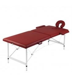 Κρεβάτι μασάζ Πτυσσόμενο 2 θέσεων Αλουμινίου Κόκκινο  110087