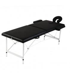 Κρεβάτι μασάζ Πτυσσόμενο 2 θέσεων Σκελετός αλουμινίου Μαύρο  110088