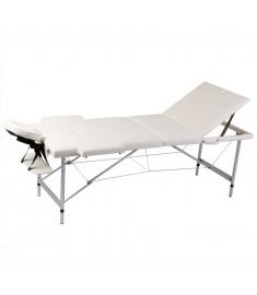 Κρεβάτι μασάζ Πτυσσόμενο 3 θέσεων με σκελετό αλουμινίου Κρεμ  110089