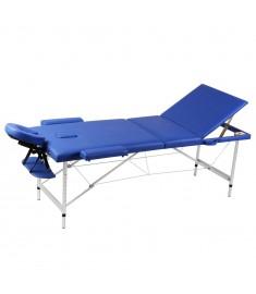 Κρεβάτι μασάζ Πτυσσόμενο 3 θέσεων Αλουμινίου Μπλε  110090