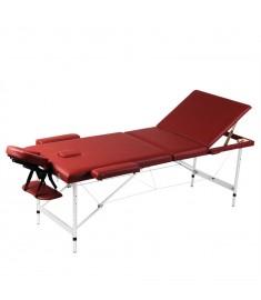 Κρεβάτι Μασάζ Πτυσσόμενο 3 Θέσεων Κόκκινο με Σκελετό Αλουμινίου  110091