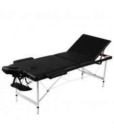 Κρεβάτι μασάζ Πτυσσόμενο 3 θέσεων Σκελετός αλουμινίου Μαύρο  110092