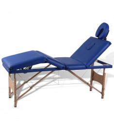 Κρεβάτι Μασάζ Πτυσσόμενο 4 Θέσεων Μπλε με Ξύλινο Σκελετό  110093