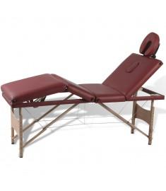 Κρεβάτι Μασάζ Πτυσσόμενο 4 Θέσεων Κόκκινο με Ξύλινο Σκελετό  110094
